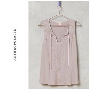 Anthropologie Lace Tie neck tank - lilac